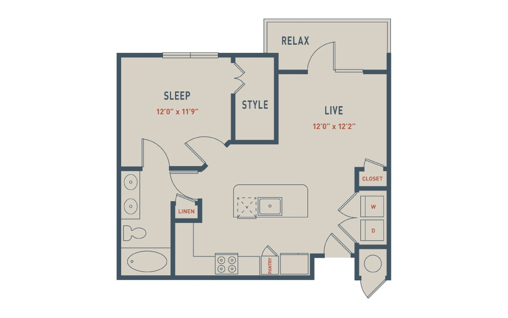 A2 - 1 bedroom floorplan layout with 1 bath and 710 square feet.