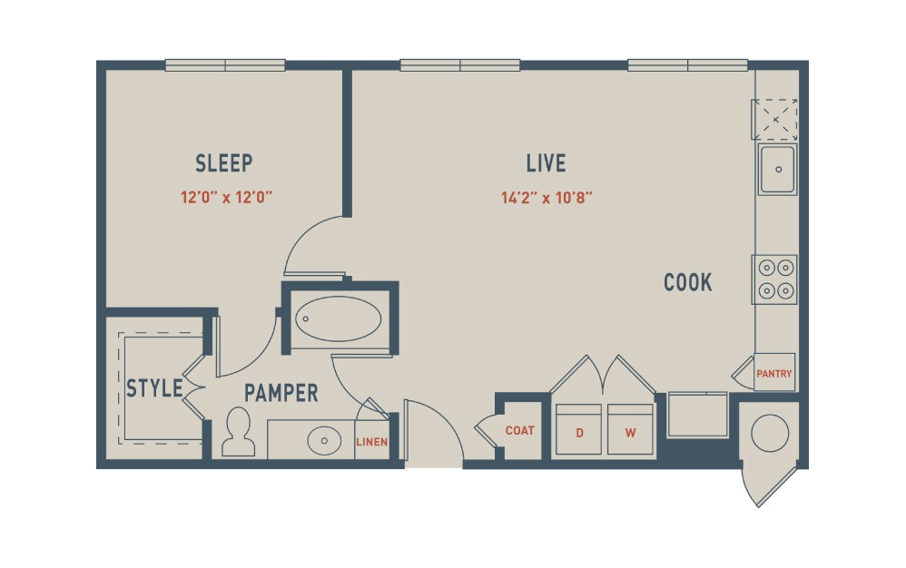 A2S - 1 bedroom floorplan layout with 1 bath and 744 square feet.