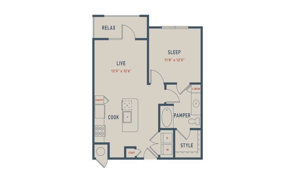 A3 - 1 bedroom floorplan layout with 1 bath and 724 square feet.