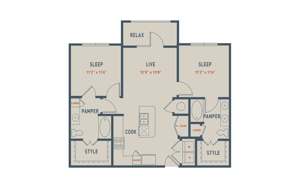 B2 - 2 bedroom floorplan layout with 2 baths and 993 square feet.