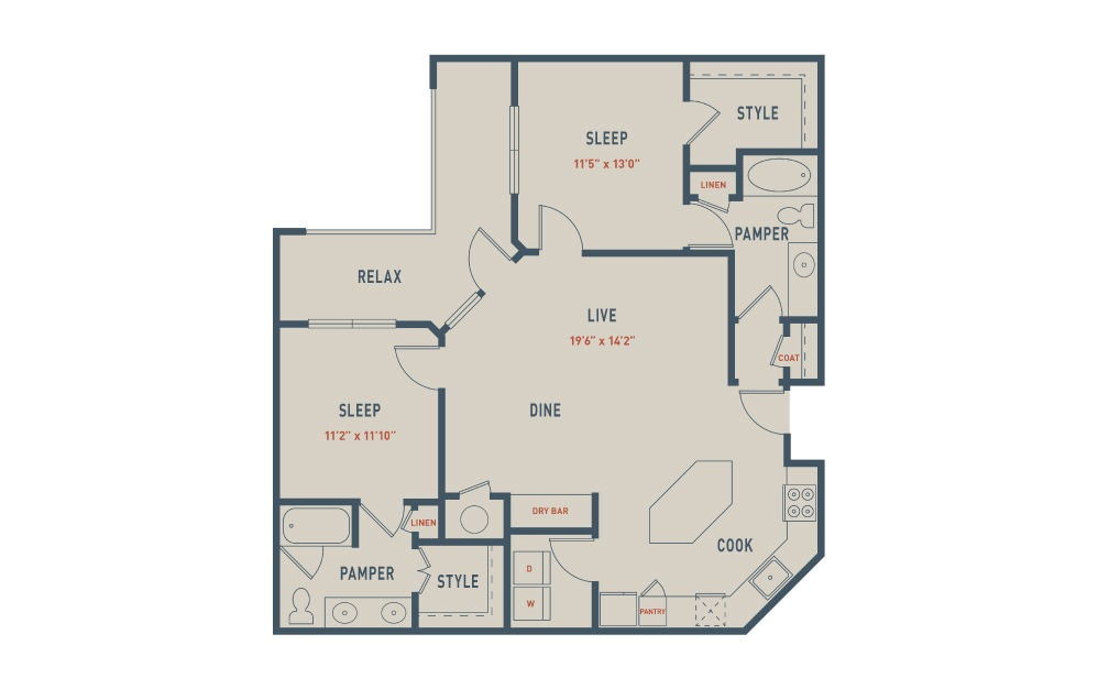 B4 - 2 bedroom floorplan layout with 2 baths and 1206 square feet.