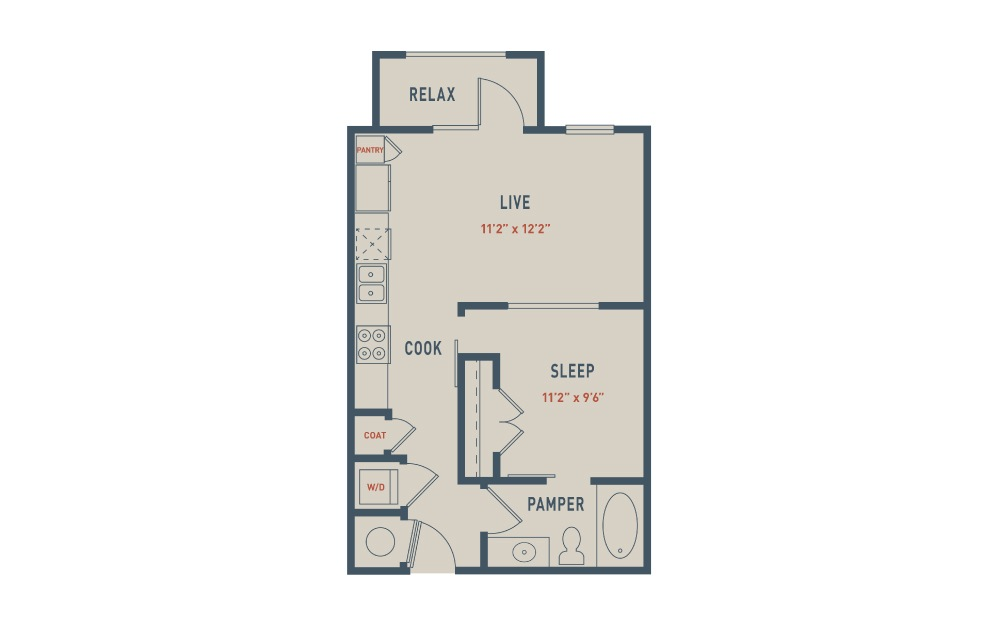 E1 - 1 bedroom floorplan layout with 1 bath and 590 square feet.