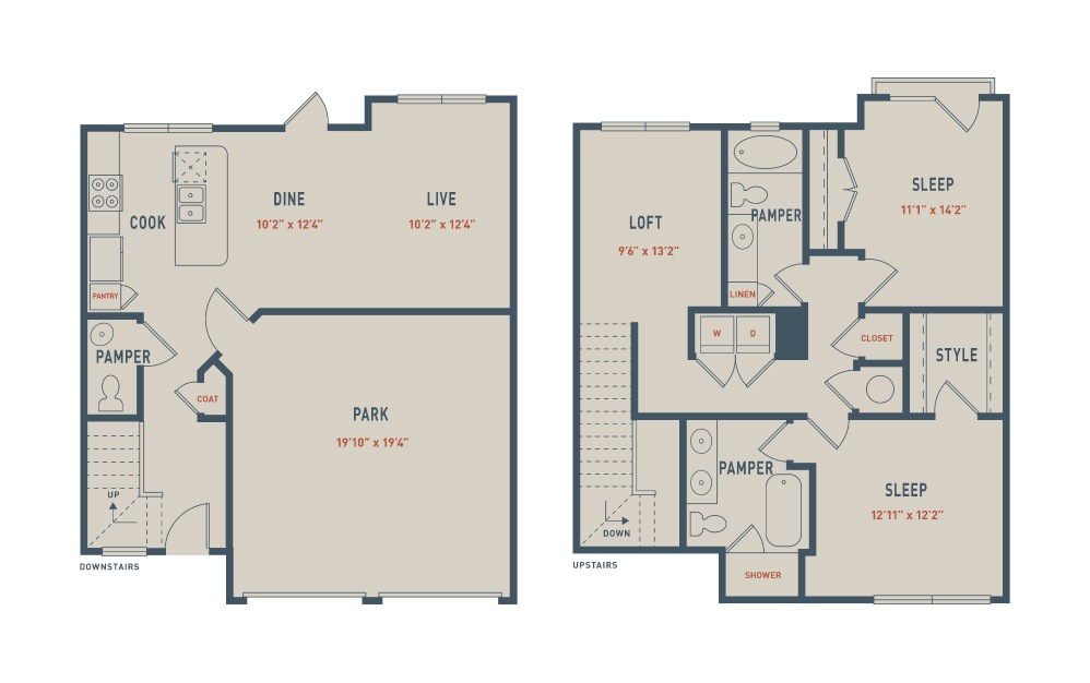 Townhome - 2 bedroom floorplan layout with 2.5 baths and 1566 square feet.