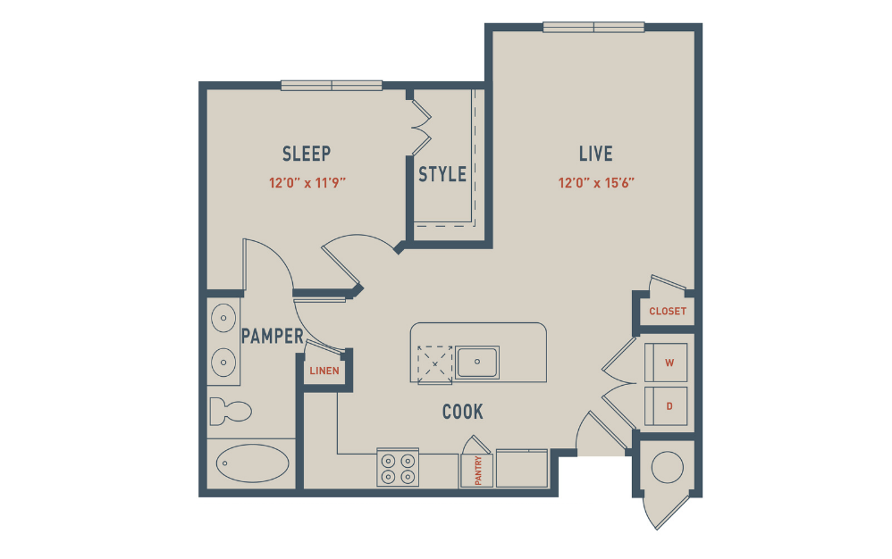 A2A - 1 bedroom floorplan layout with 1 bath and 777 square feet.